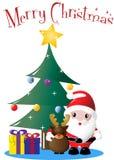 圣诞老人、驯鹿和圣诞树 免版税库存照片