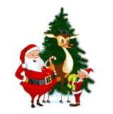 圣诞老人、驯鹿和矮子 免版税库存照片