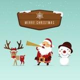 圣诞老人、驯鹿和雪人与圣诞节木边界圣诞节装饰品的 免版税库存照片