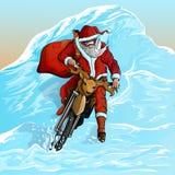 圣诞老人下降一座多雪的山 免版税库存照片
