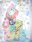 圣诞老人与礼物和雪人的圣诞卡 免版税库存图片