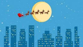 圣诞老人与驯鹿的雪橇飞行在城市在圣诞夜,当降雪时 库存例证