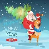 圣诞老人举着圣诞节绿色树驯鹿贺卡装饰新年快乐横幅 免版税库存图片