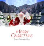 圣诞老人交付的综合图象提出到村庄 免版税库存图片