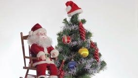 圣诞老人享受以后的圣诞节 股票录像