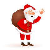 圣诞老人传染媒介动画片例证 平的滑稽的老有礼物的人字符运载的大袋 免版税库存图片