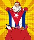 圣诞老人使古巴的国旗脱离与玩具的袋子在流行艺术样式 新年的例证在流行艺术样式的 库存例证