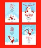 圣诞老人假日冬天红色集合 免版税库存图片
