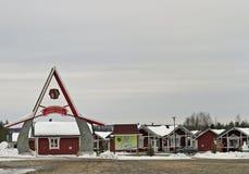 圣诞老人假日村庄在拉普兰,芬兰 免版税库存照片