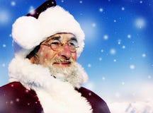 圣诞老人冬天季节性新年降雪的概念 库存照片