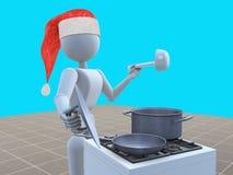 圣诞老人准备一个节日晚会 免版税库存照片