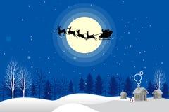 圣诞老人剪影传染媒介月光 图库摄影