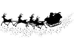 圣诞老人剪影雪橇 库存例证
