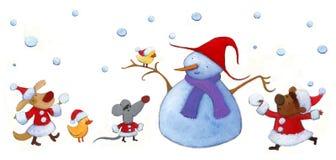 圣诞老人动物朋友 库存图片
