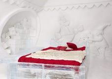 圣诞老人卧室冰旅馆在魁北克 免版税库存照片