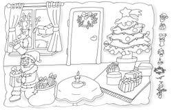 圣诞老人和一点装饰,上色幽默孩子的圣诞树脊椎 库存照片