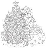 圣诞老人和圣诞树 免版税库存图片