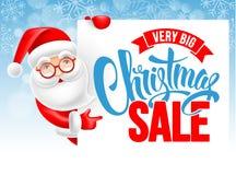 圣诞老人和圣诞节销售广告海报 库存例证