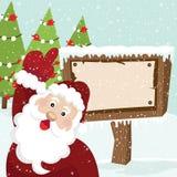 圣诞老人和广告牌 库存例证