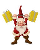 圣诞老人和推挤滑行车 免版税库存图片