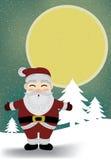 圣诞老人和月亮在斯诺伊夜传染媒介。 免版税库存图片