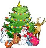 圣诞老人和森林的动物 免版税图库摄影