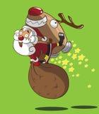 圣诞老人和火箭驯鹿 图库摄影