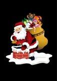 圣诞老人和烟囱 免版税库存图片
