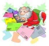 圣诞老人和电子邮件 库存照片
