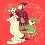 圣诞老人和矮子与礼物在圣诞快乐假日庆祝背景中 免版税库存照片