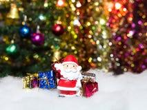 圣诞老人和礼物做庆祝 库存照片