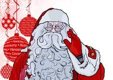 圣诞老人和背景与中看不中用的物品 图库摄影