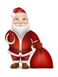 圣诞老人和袋子礼物 库存图片