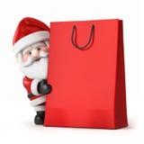 圣诞老人和购物袋 库存图片