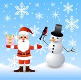 圣诞老人和雪人 库存照片