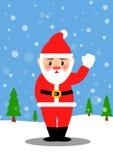 圣诞老人和雪白 库存照片