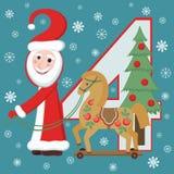圣诞老人和马。新年2014年 库存照片