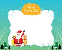 圣诞老人和驯鹿与圣诞树和雪落的边界 免版税库存图片