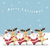 圣诞老人和驯鹿圣诞节 库存图片