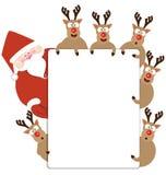 圣诞老人和驯鹿当前圣诞卡 免版税图库摄影