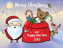 圣诞老人和驯鹿给礼物 库存例证