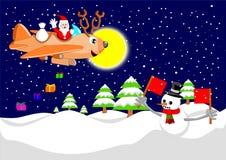 圣诞老人和驯鹿飞机 免版税库存照片
