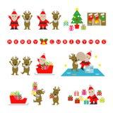 圣诞老人和驯鹿,为圣诞节做准备 免版税库存照片