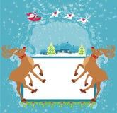 圣诞老人和驯鹿-抽象圣诞卡 免版税库存照片