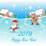 圣诞老人和驯鹿 免版税库存照片