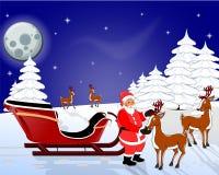 圣诞老人和驯鹿 库存照片
