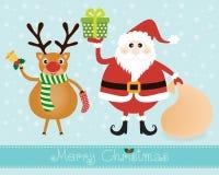 圣诞老人和驯鹿 库存图片