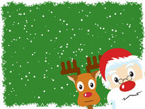 圣诞老人和鲁道夫圣诞卡 免版税图库摄影