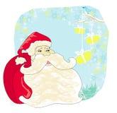 圣诞老人和鸟 免版税库存图片