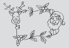 圣诞老人和鹿在框架 皇族释放例证